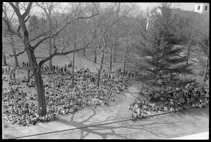 distant view of students gathered