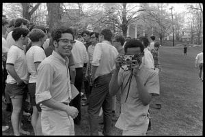 students gathered on Amherst College campus