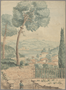watercolor painting with trees and distant village and hills