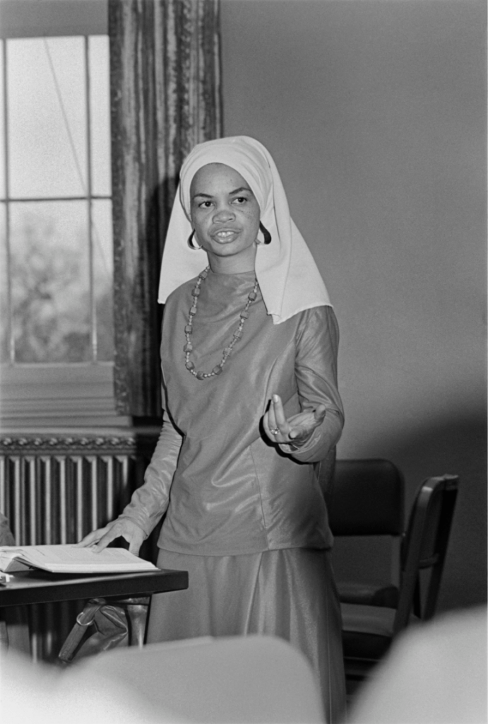 black and white photograph of Sonia Sanchez in a classroom