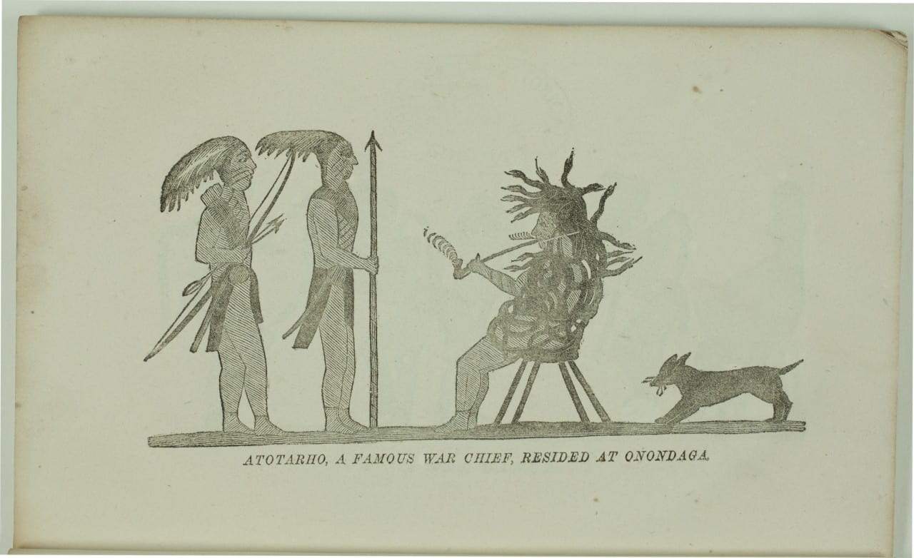 Illustration by David Cusick from Sketches of Ancient History, Courtesy of Amherst College Archives. Depicts Ononadaga chief Atotarho covered in snakes