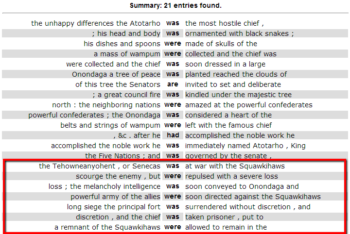Concordance table of instances of passive voice from formation passage, with the words was, were, are, and had as the roots