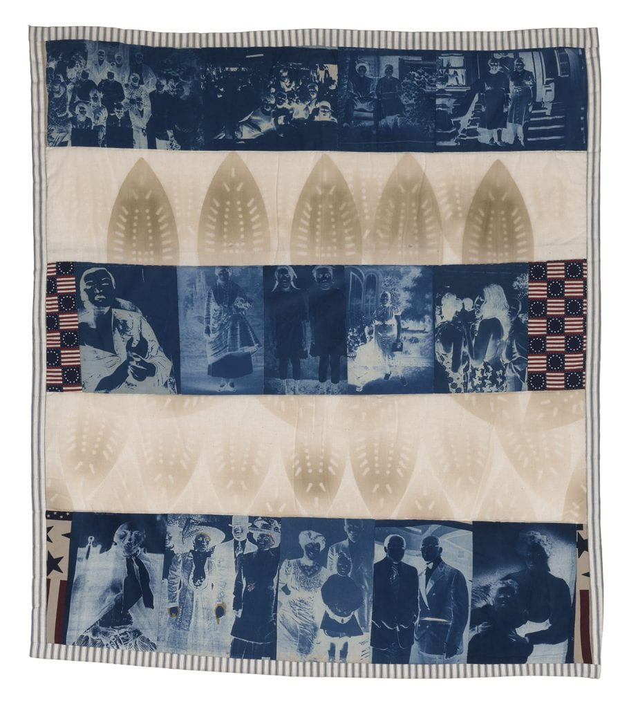 Quilt design with bands of photo negatives depicting individuals and groups of people who, based on clothing, seem to be from different eras