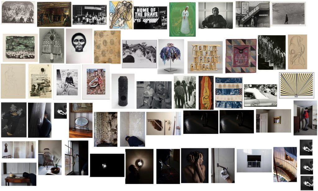 Collection of 54 thumbnail images of art objects that span photography, fiber art, sculpture, and more