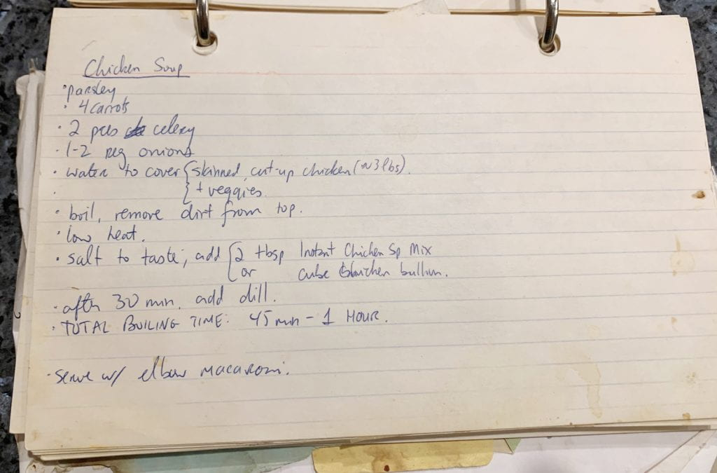 handwritten recipe card, recipe in text below