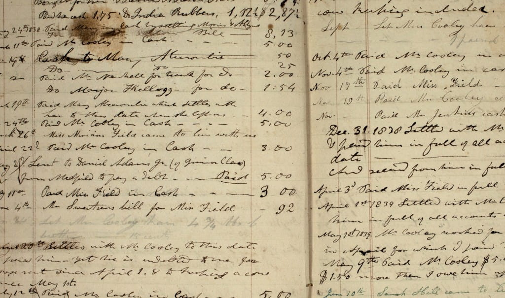 An account book detailing the daily expenses and income of the Hitchcock household between 1828 and 1864. Some of the entries are in a hand other than Hitchcock's, possibly that of his wife Orra. Entries for 1864 are in Edward Hitchcock Jr.'s hand.