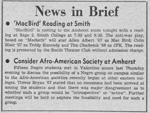 """News in Brief: Consider Afro-American Society at Amherst"""