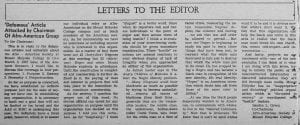 """Letters to the Editor: 'Defamous' Article Attacked by Chairman Of Afro-American Group"""