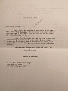 Letter from President Calvin Plimpton