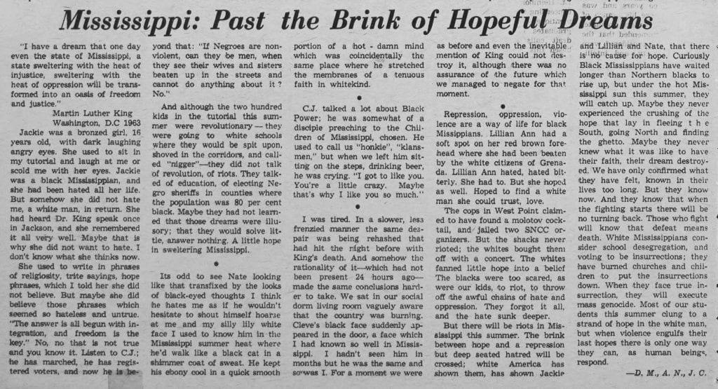 """Mississippi: Past the Brink of Hopeful Dreams"""