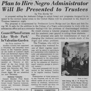 """""""Plan to Hire Negro Administrator Will Be Presented to Trustees"""""""