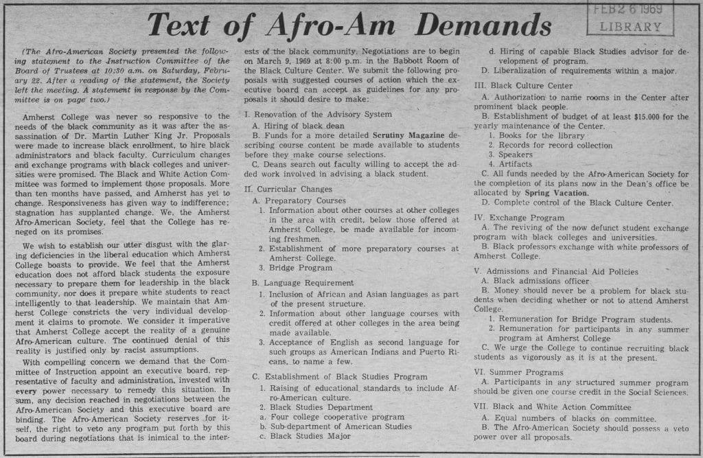 """""""Text of Afro-Am Demands"""""""