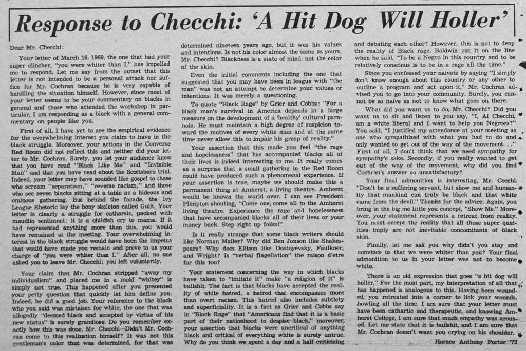 """""""Response to Checchi: 'A Hit Dog Will Holler'"""""""