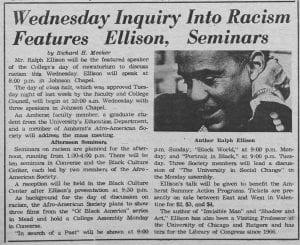 """Wednesday Inquiry Into Racism Features Ellison, Seminars"""