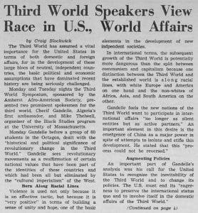 """""""Third World Speakers View Race in U.S., World Affairs"""""""
