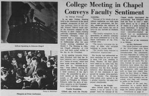 """College Meeting in Chapel Conveys Faculty Sentiment"""
