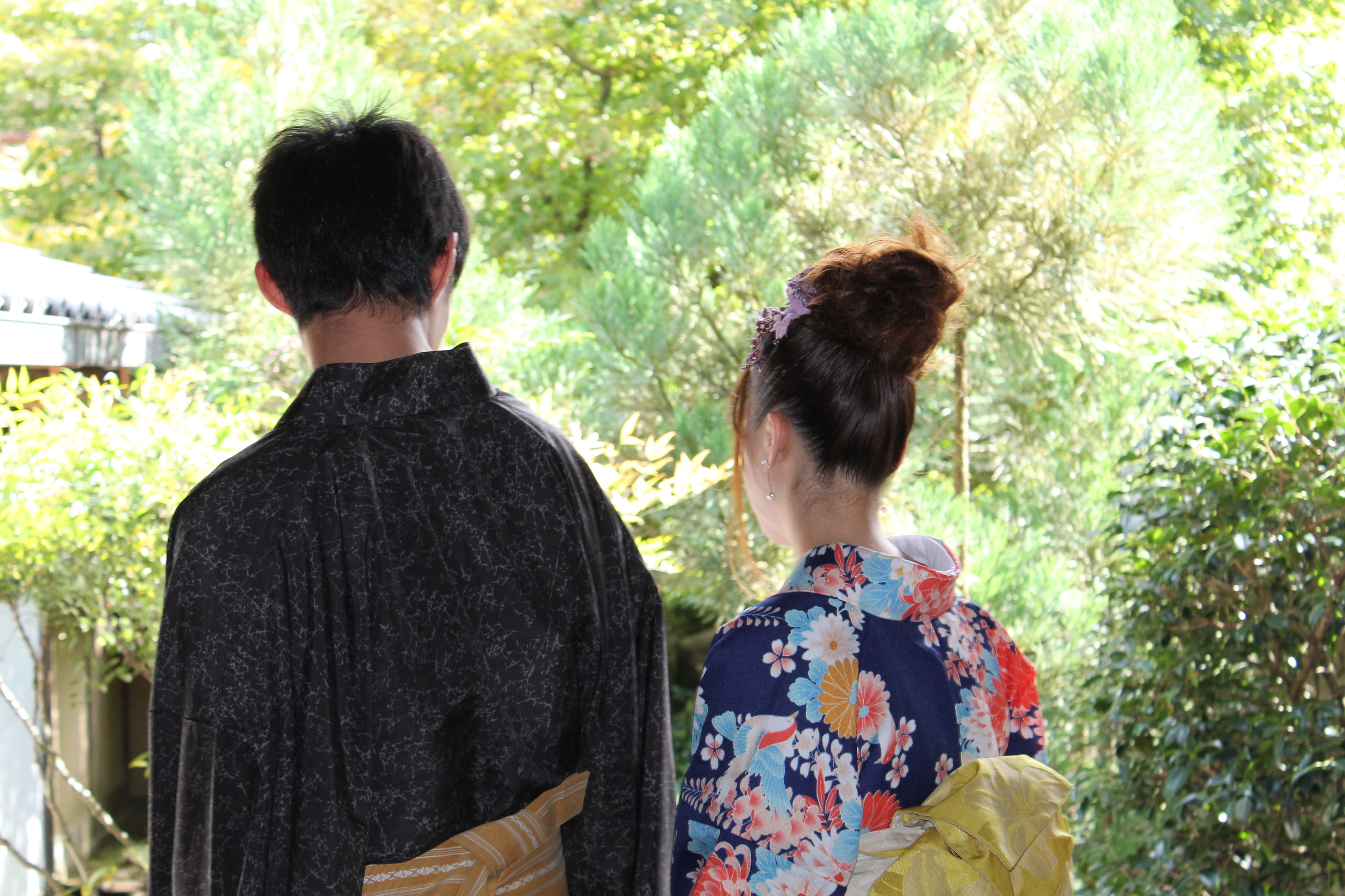 Kyoto newlyweds going sightseeing in search of their roots
