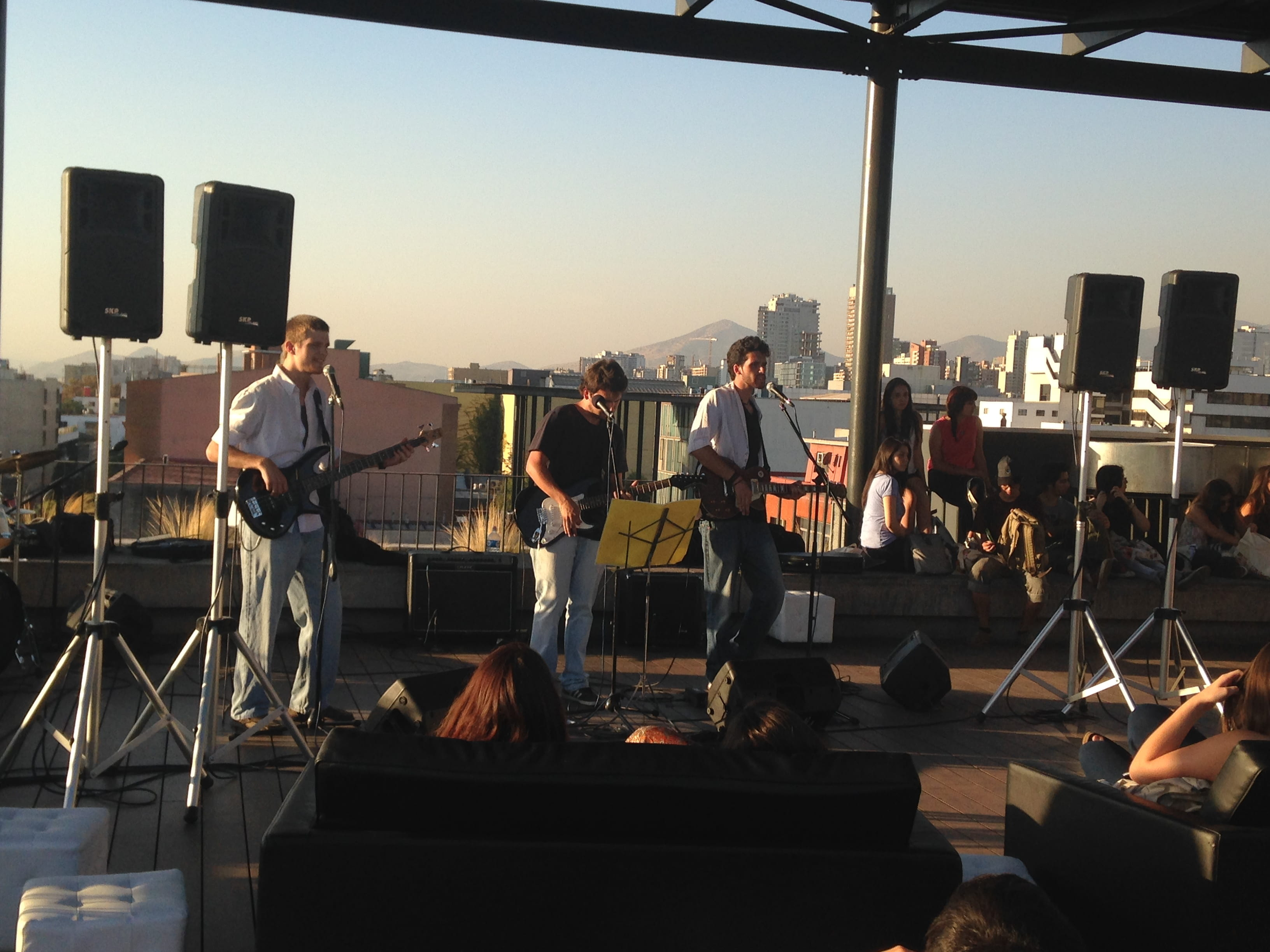 Student band performing on the rooftop.
