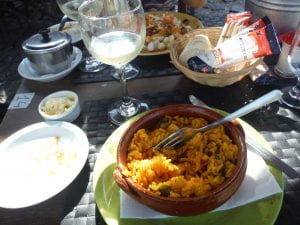 A paella dish with seafood in the relaxing Uruguayan coastal town of Colonia! (Photo Credit: Matt Randolph)