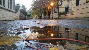 Street lamp reflecting in puddle
