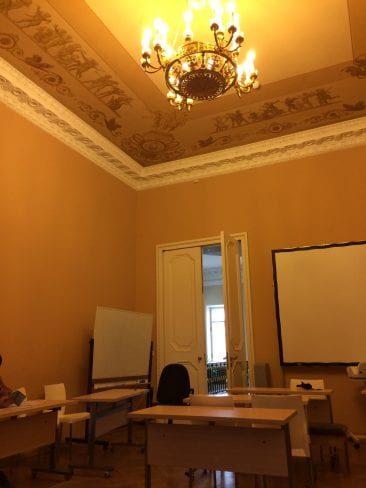 The room where my Russian Novel class is located. Yes, there's a chandelier. Yes, I know how lucky I am. (Unfortunately, not all rooms are as nice as this one!)