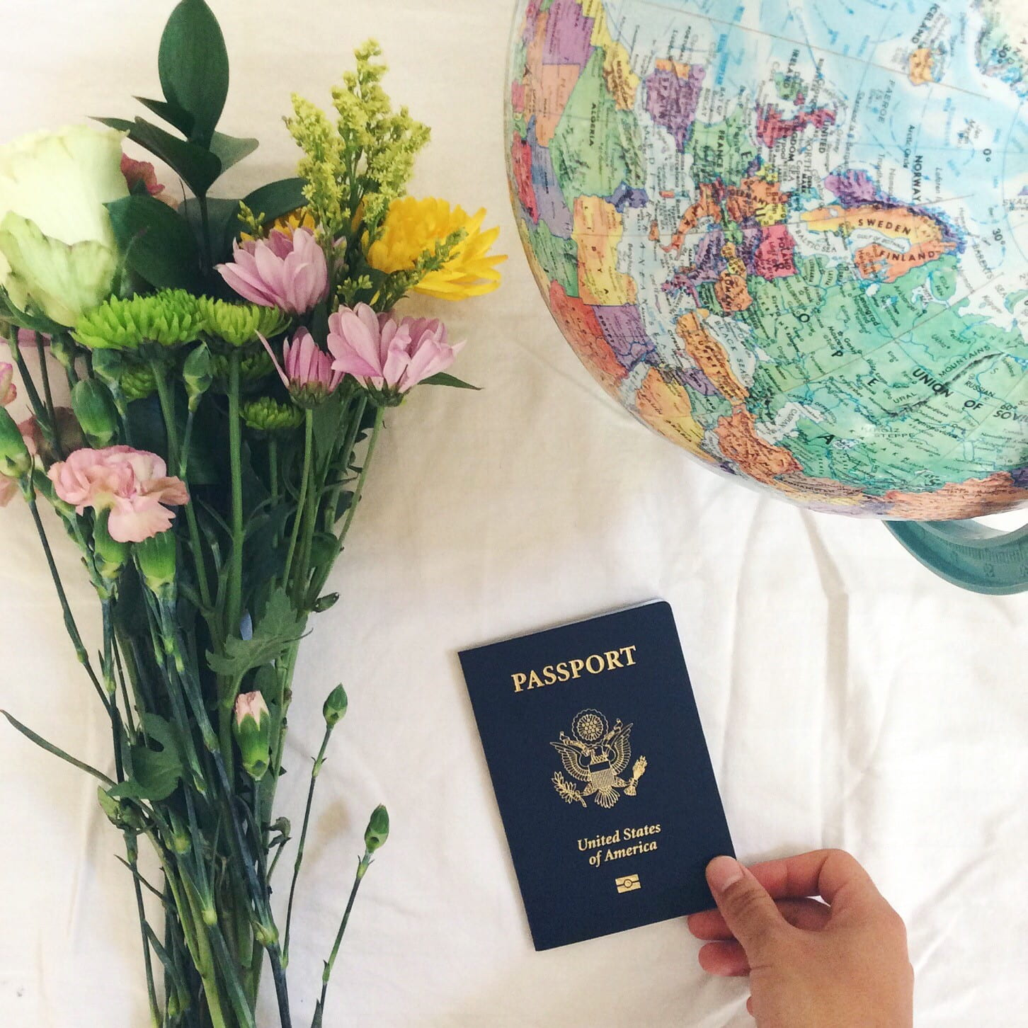 Still life with flowers globe and US passport