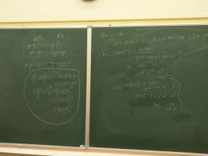 Chalkboard with abstract algebra problems