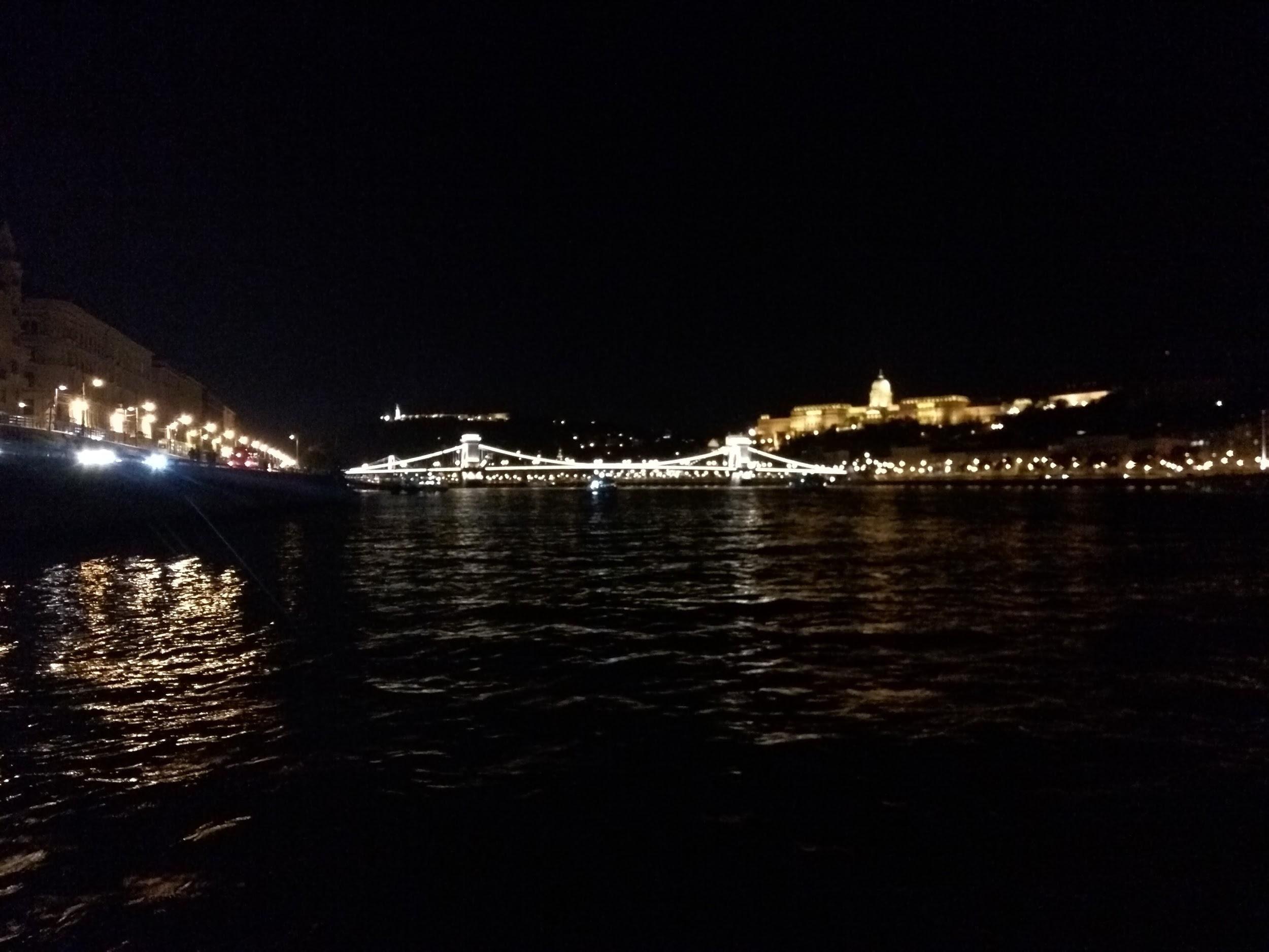 Night scene of river in Budapest