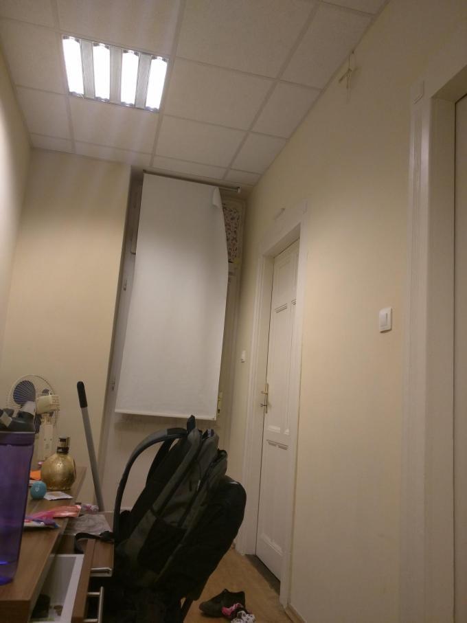 Inside of narrow dorm room