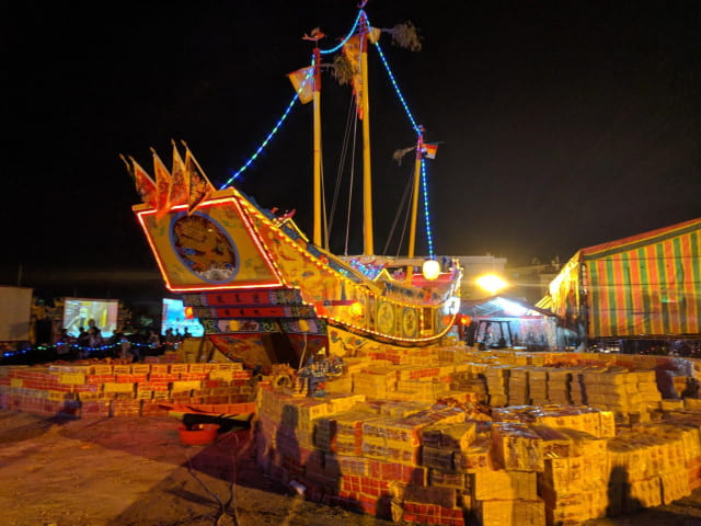 Large papier-mâché boat at Taiwanese opera