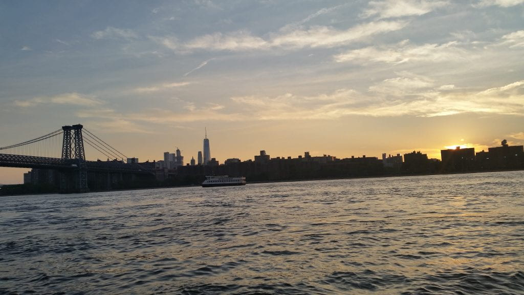 NYC skyline at dusk