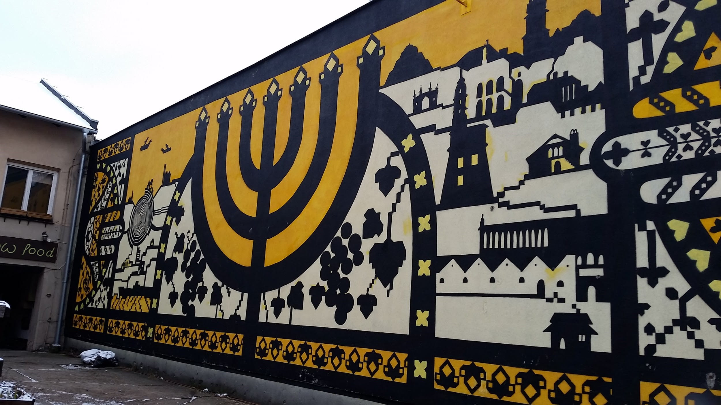 Black white and yellow mural