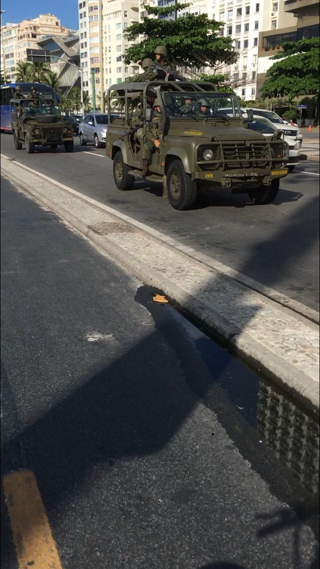 Street with miltary vehicles after death of Marielle Franco