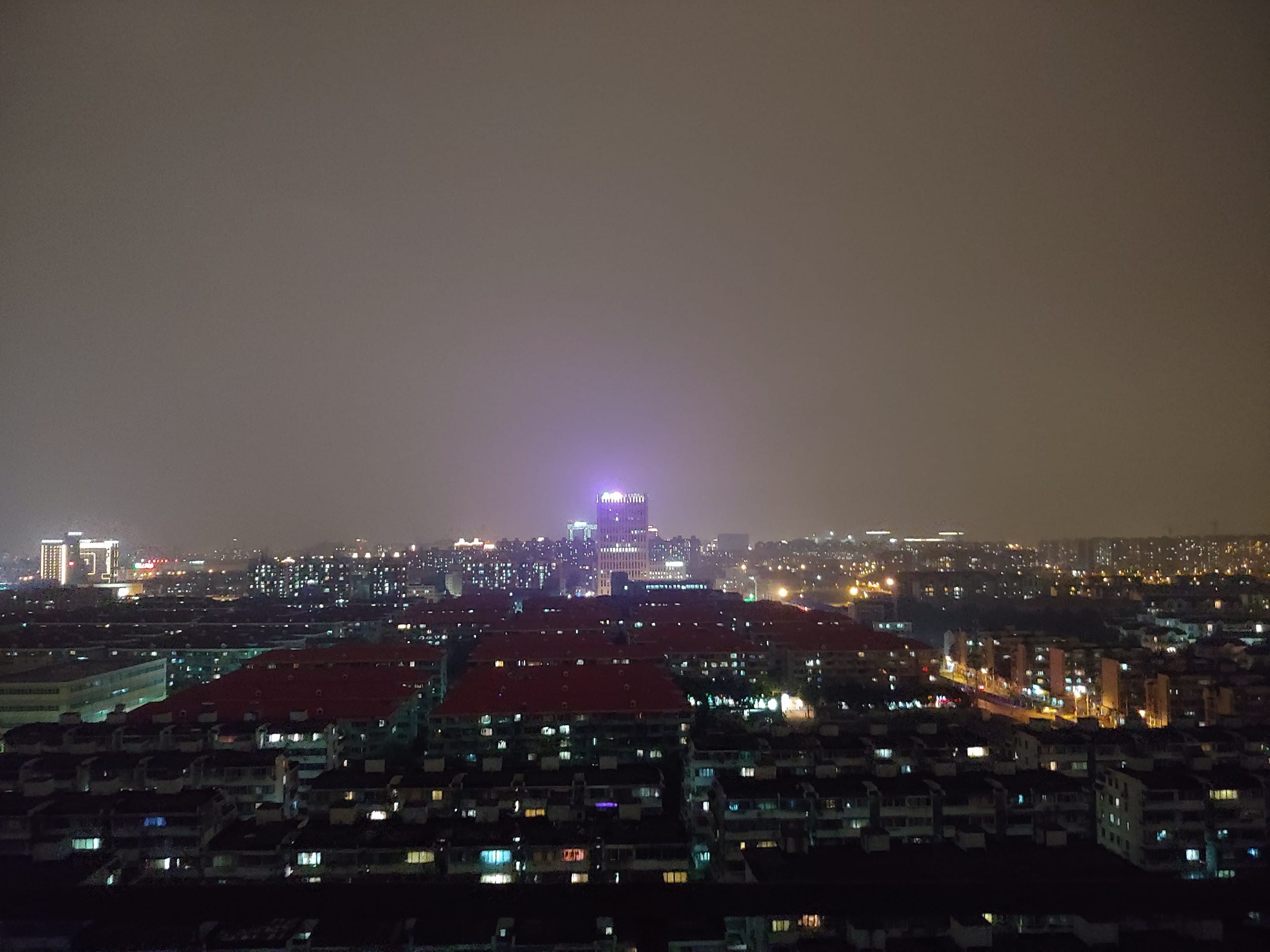 view of Shanghai from top at night