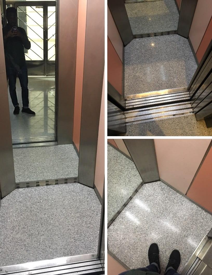 Narrow elevator in Spain