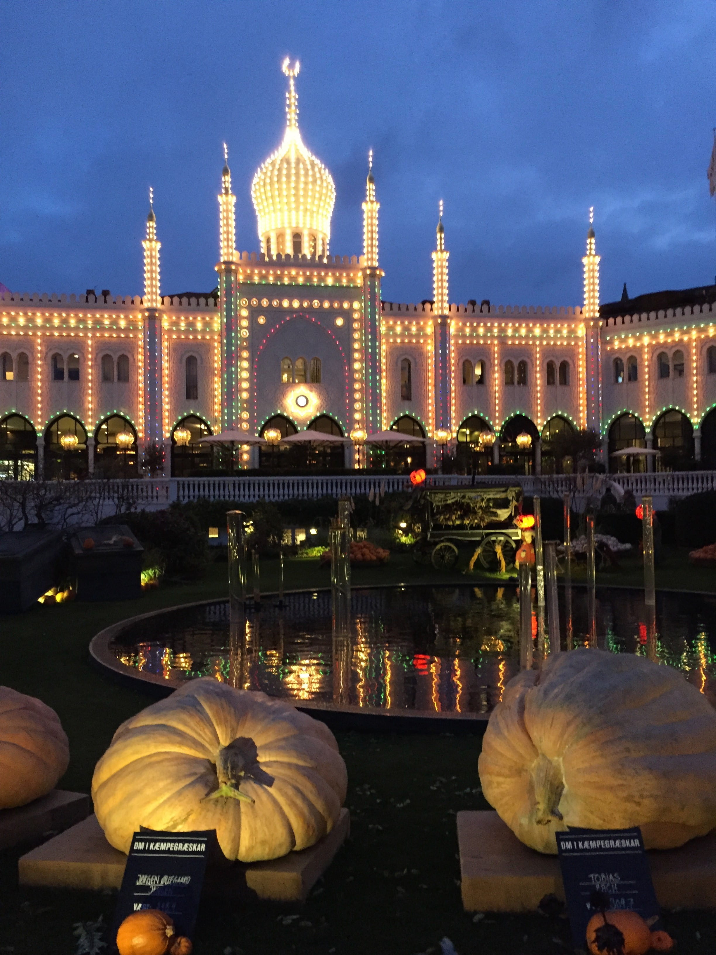 Tivoli amusement park decorated for Halloween