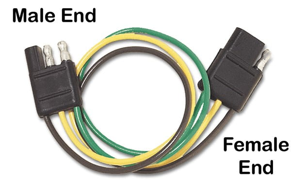 a wire cable with male and female ends