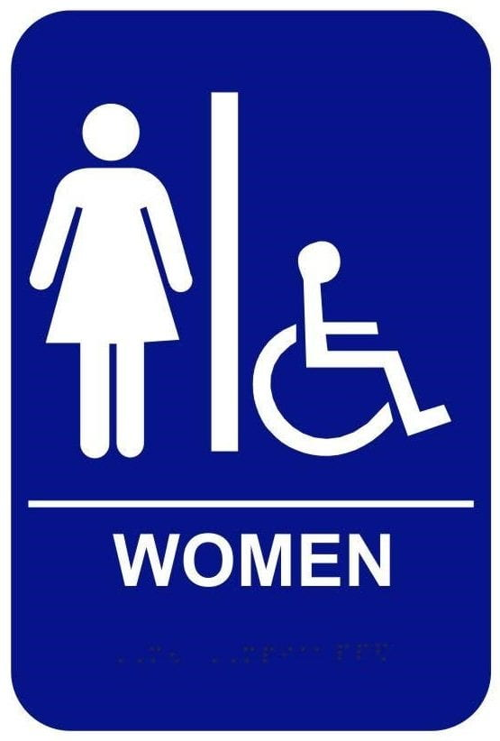 blue bathroom sign for women