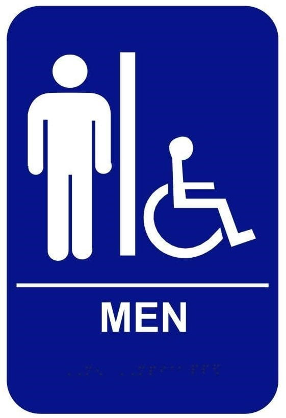 blue bathroom sign for men