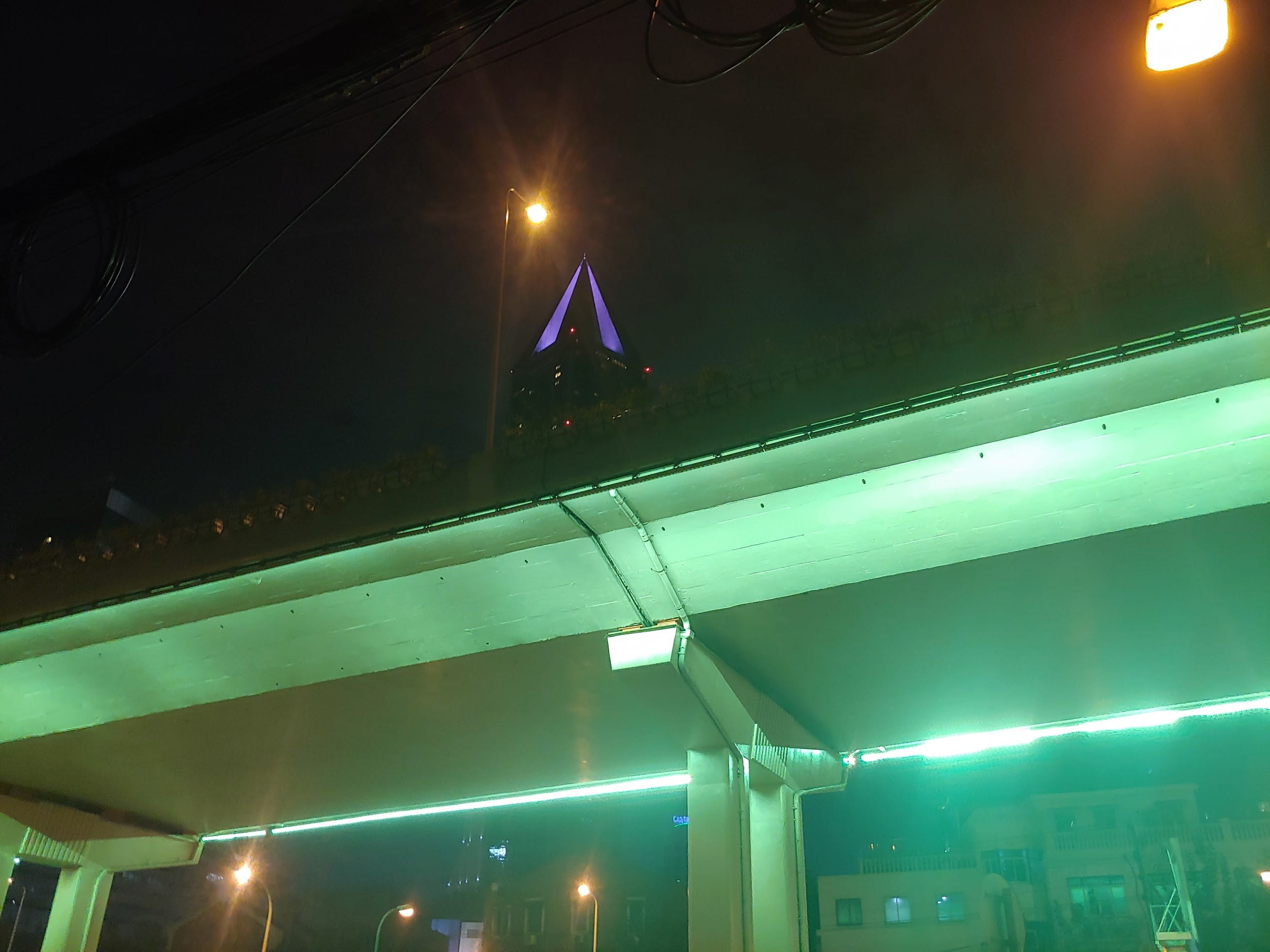 Green lights at night in Shanghai