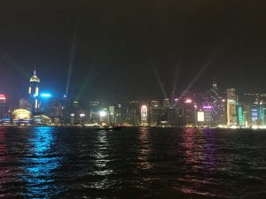 Hong Kong skyline at night over water
