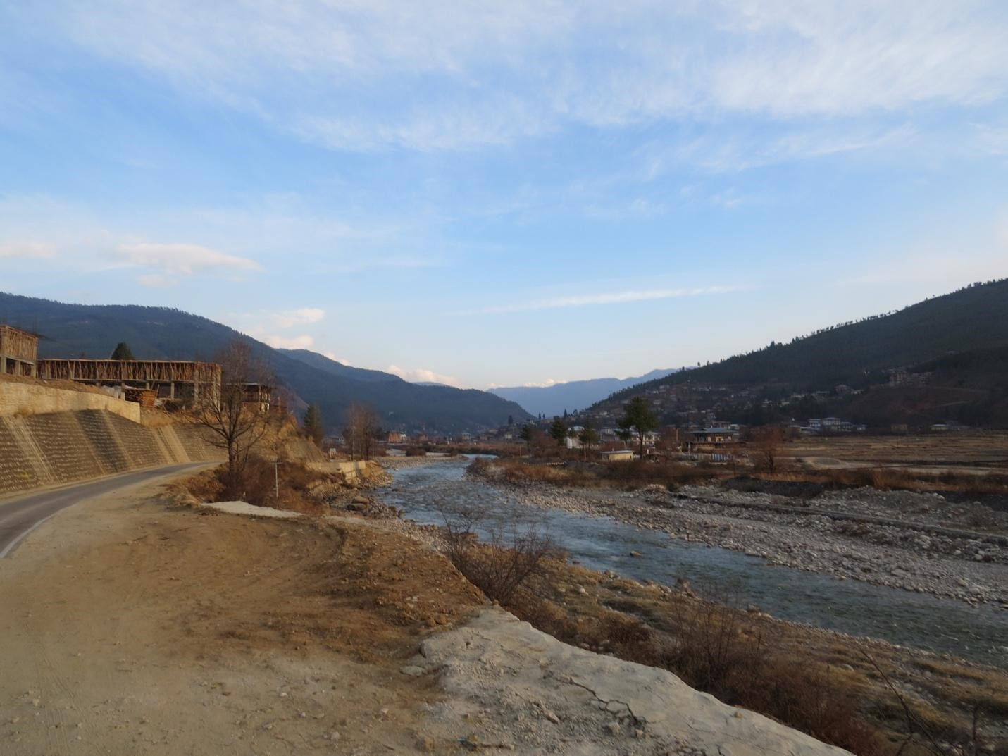 Landscape with river and blue sky in Bhutan