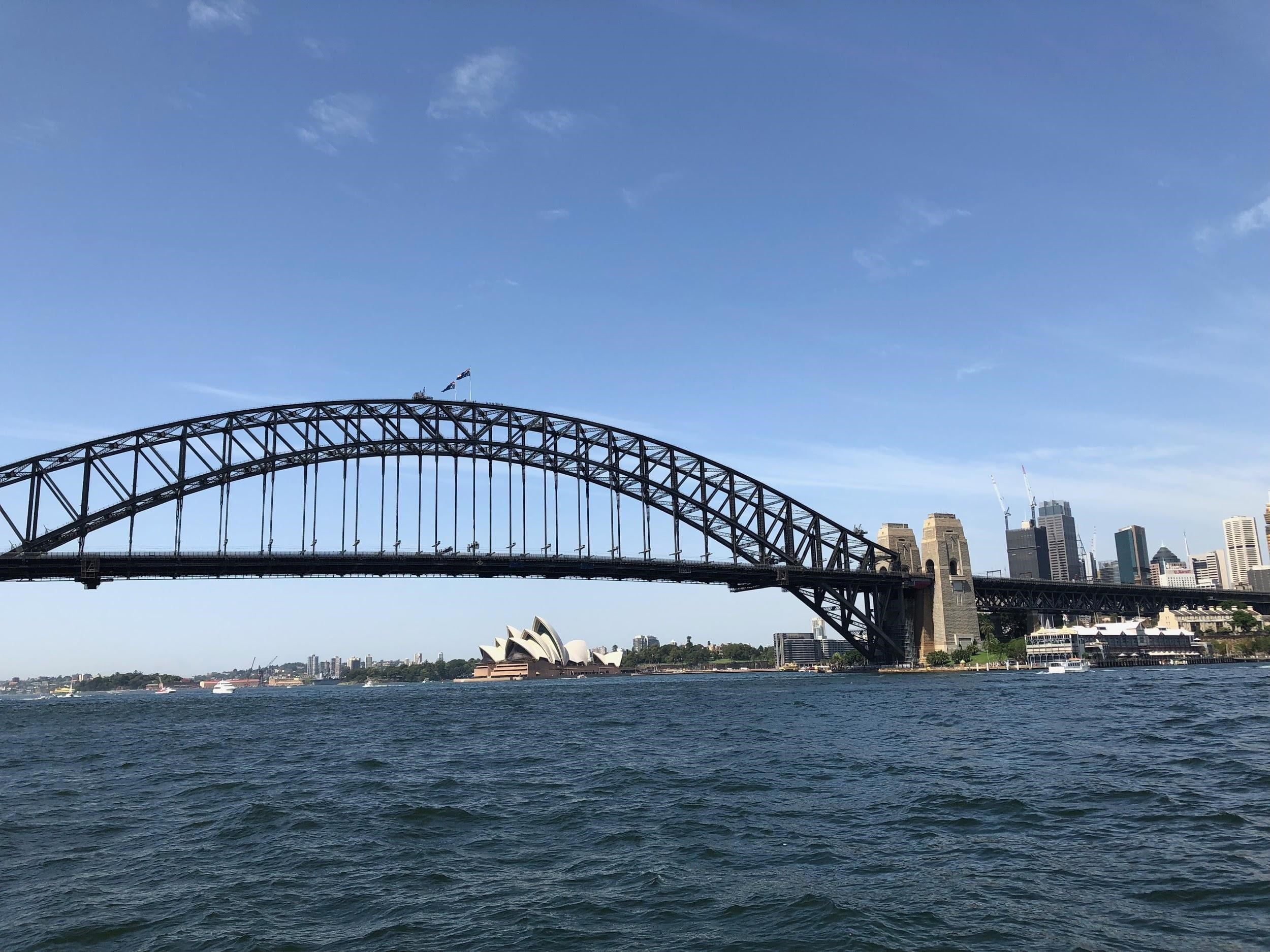 bridge with Sydney Opera House in background with blue sky