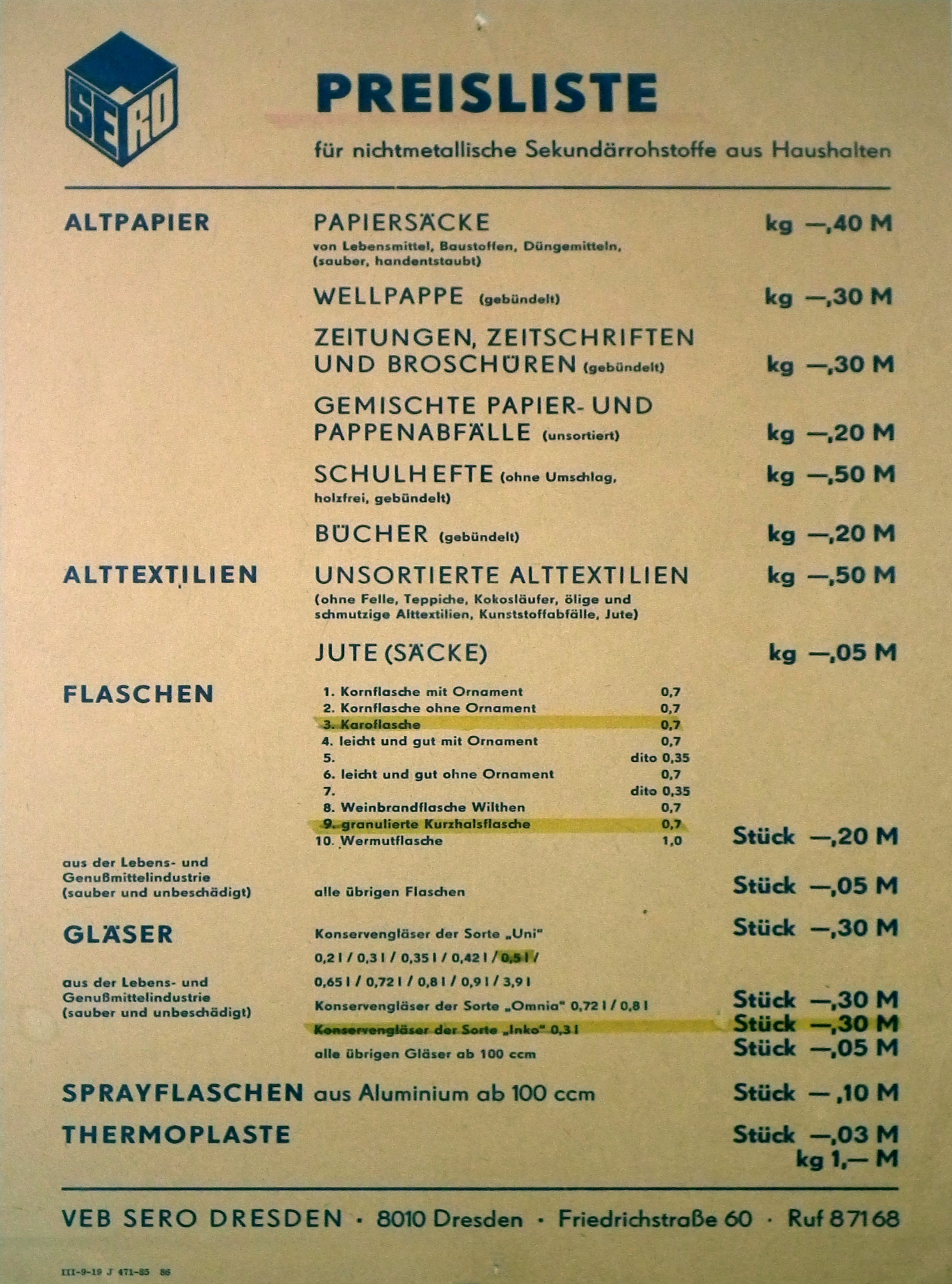 Scan of yellowed paper with price list for recycled materials in German