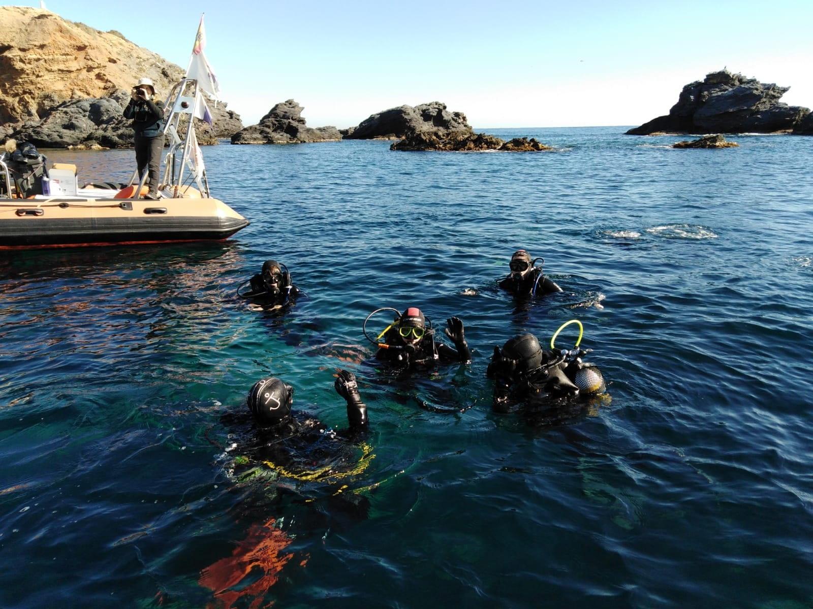Five students wearing scuba gear float atop greenish-blue water