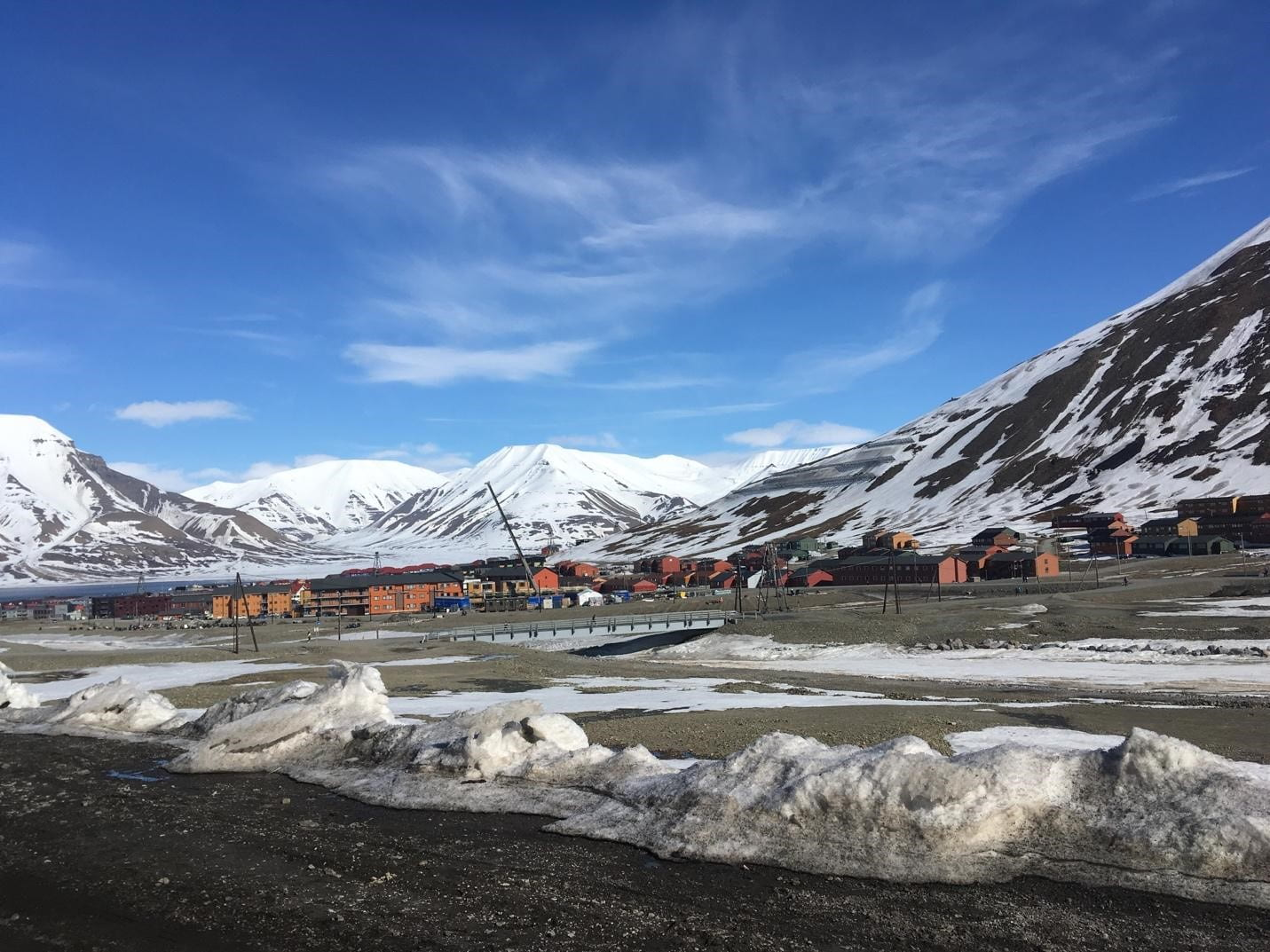 Snowy mountains in background, blue sky, orange buildings in distance, melting snow in foreground