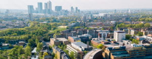 Skyline view of Queen Mary University in London