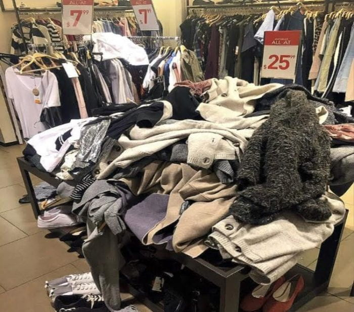 A pile of clothes at a European mall.