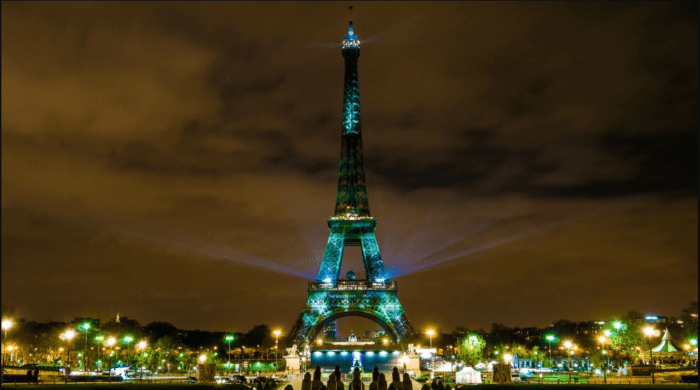 Eiffel Tower in green in honor of Climate Summit