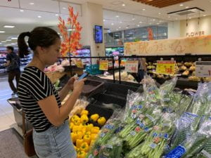 A student uses Google translate while grocery shopping